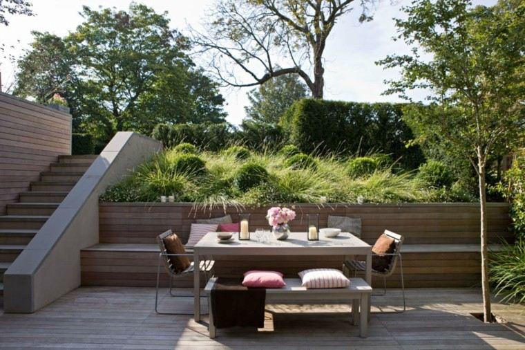 jardines y terrazas escalera muebles suelo madera ideas
