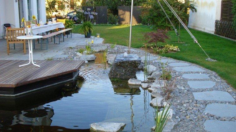jardines y terrazas estanque grande decorado mesa banco ideas
