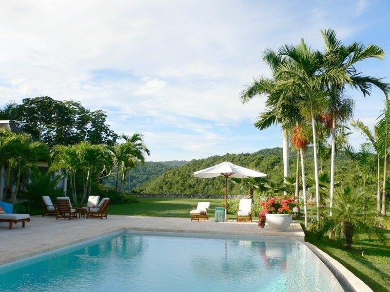 jardines y terrazas estilo tropical piscina sombrilla ideas
