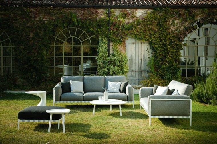 jardines y terrazas muebles comodos color gris cojines negros blancos ideas