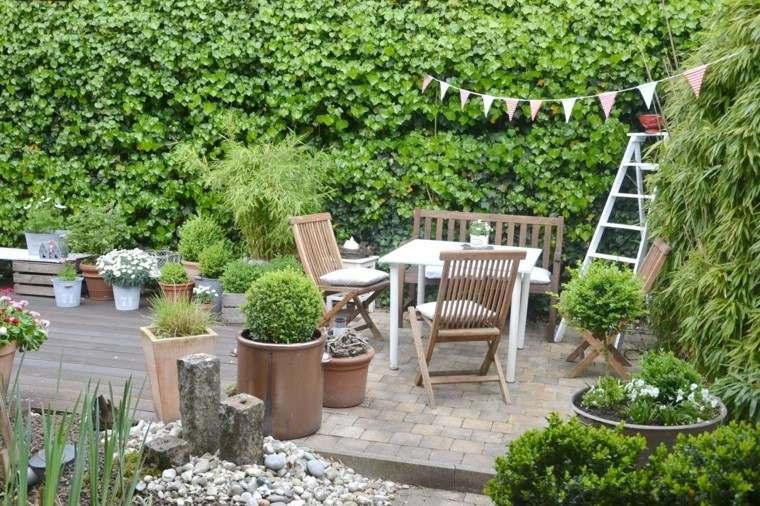 jardines y terrazas muebles teca resistentes macetas ideas