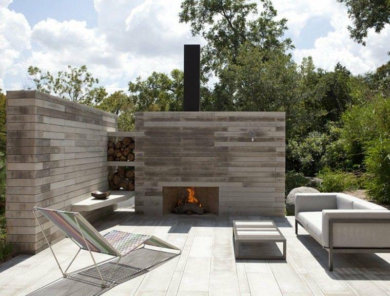 jardines y terrazas pared chimenea tumbona ideas