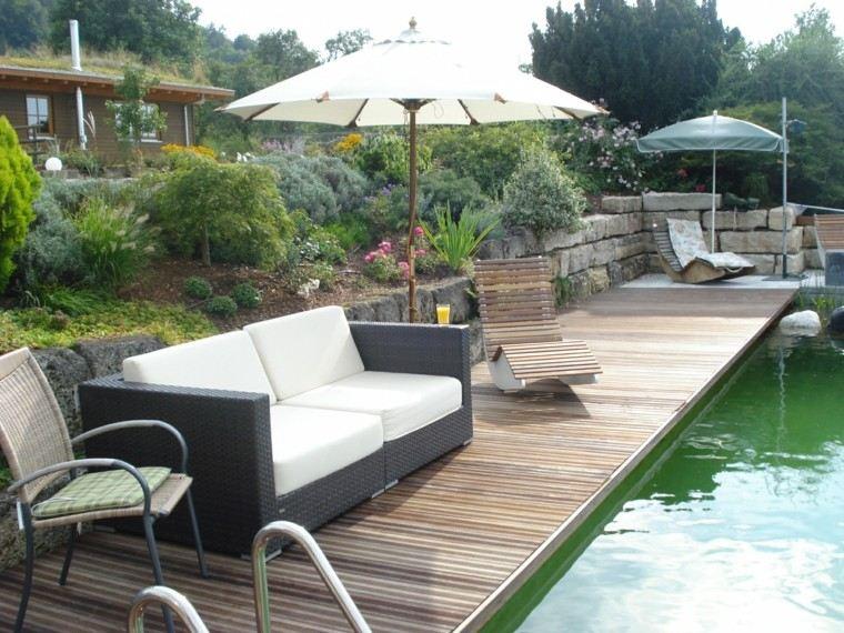 jardines y terrazas piscina tumbonas preciosas ideas