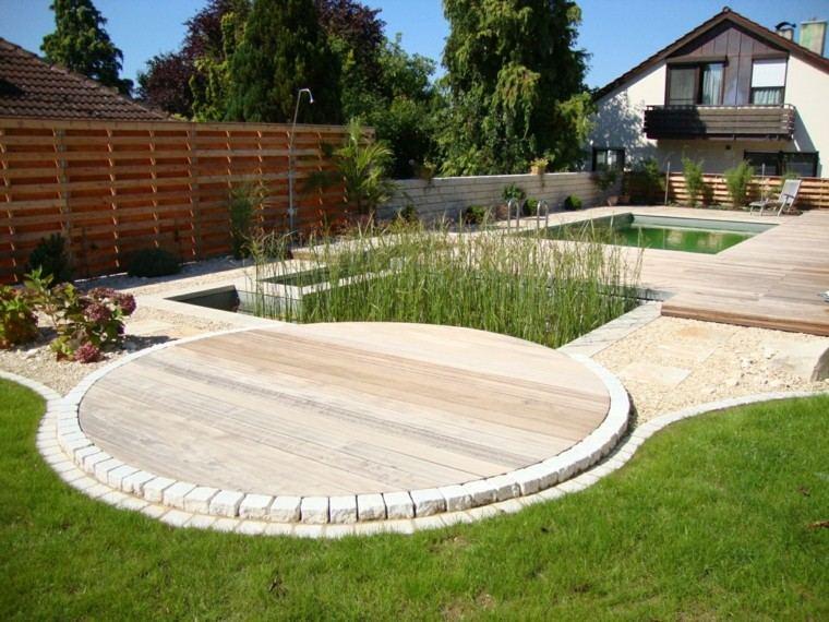 jardines y terrazas suelo madera cesped piedras lugar acuatico plantas ideas