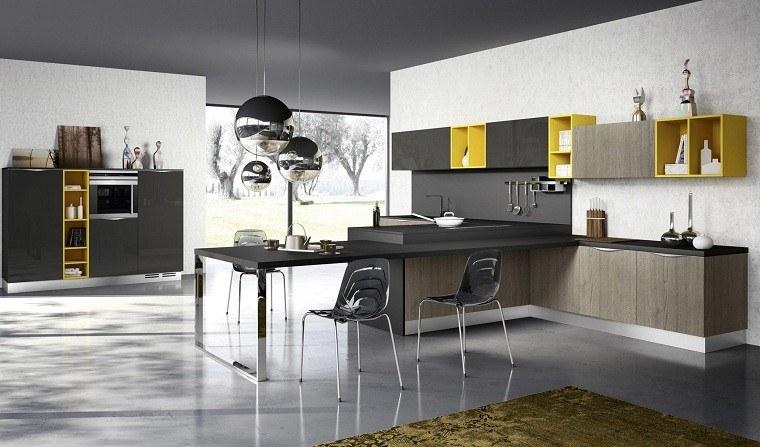 La cocina amarillo y gris juntos o separados for Sillas cocina amarillas