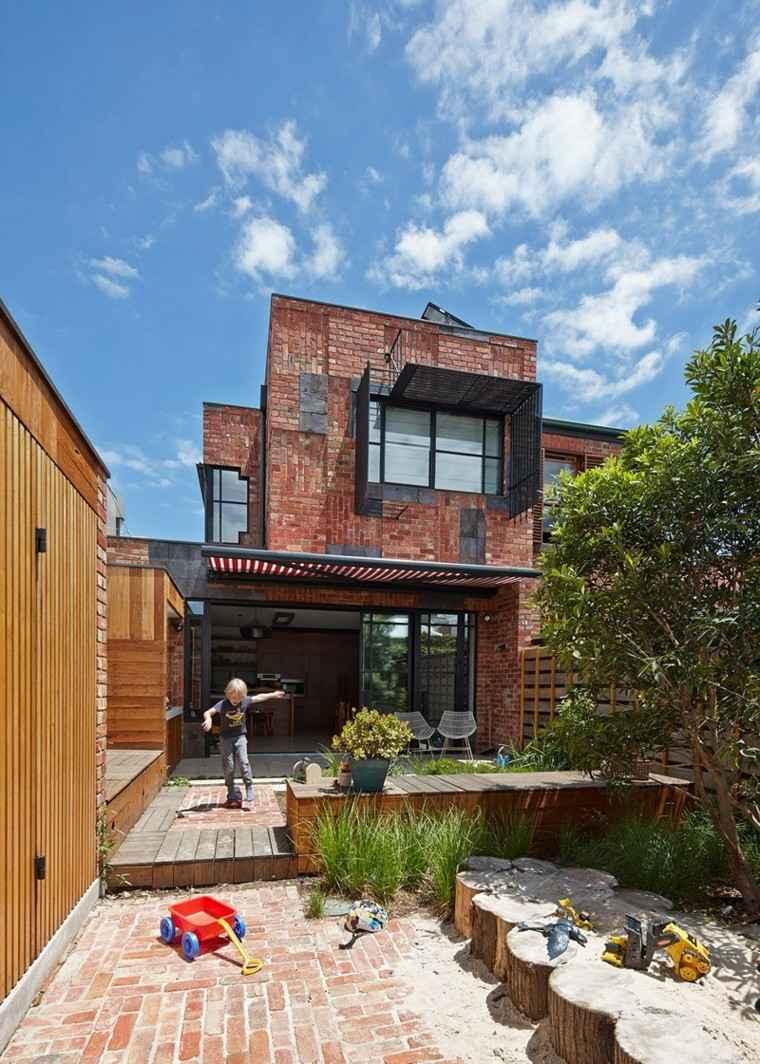 ladrillo casa pared exterior jardin lugar juego ninos ideas