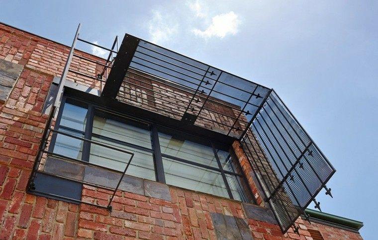 ladrillo pared exterior ventana acero negro ideas
