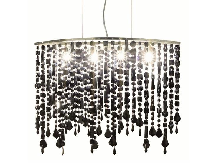 lampara elegante negro cristales moderna ideas