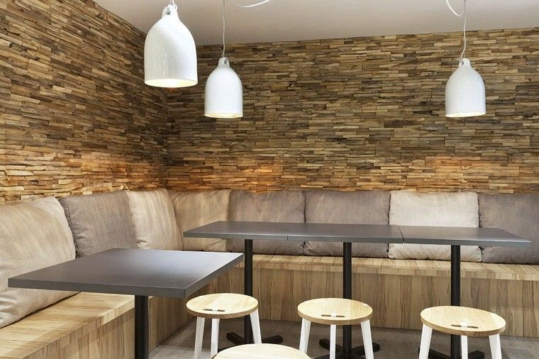 lampara mesas banquetas madera amplios