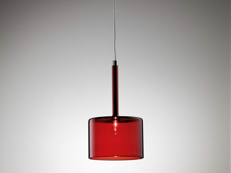 lampara roja colando techo cristal moderna ideas