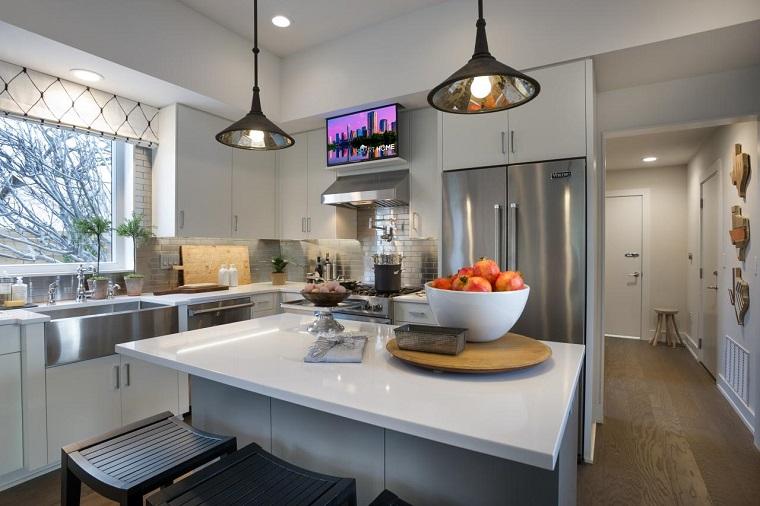 L mparas de techo ideas modernas para el interior - Lamparas colgantes para cocina ...