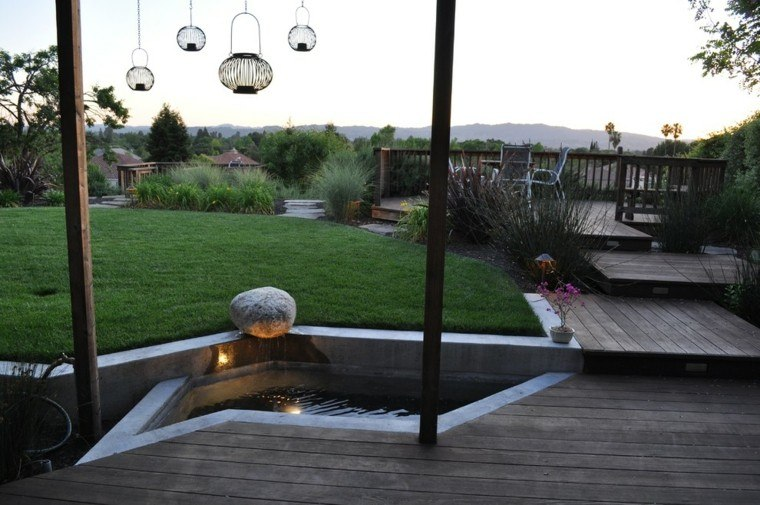 lamparas madera estanque luces linternas