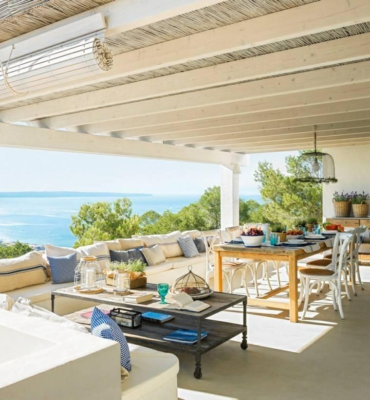 las terrazas ideas mar mesa cortina fibra