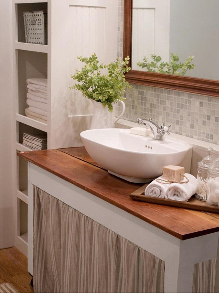 lavabo encimera madera cortinas abajo bano ideas