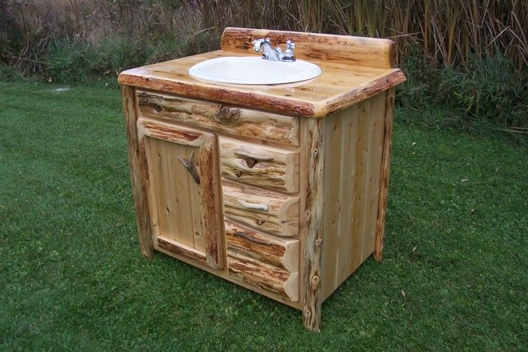 lavabo rustico cesped patio mueble