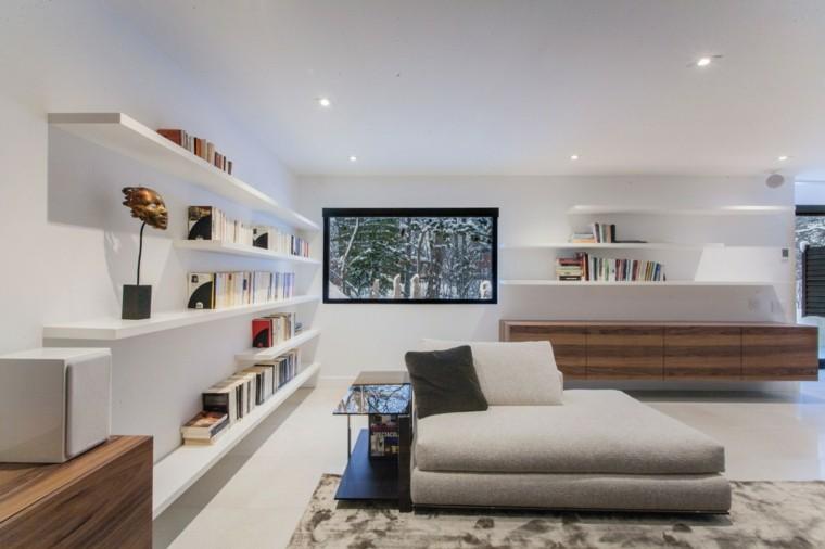 libros estantes led madera blanco salon