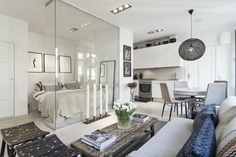 loft con dormitorio acuario cristal