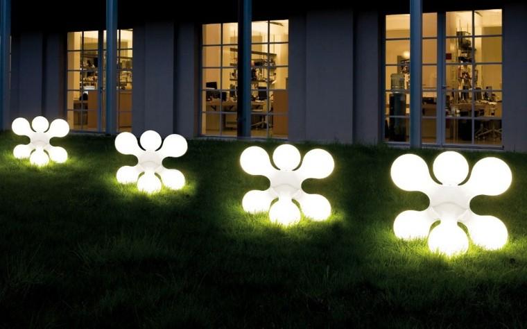 luces jardin formas modernas blancas