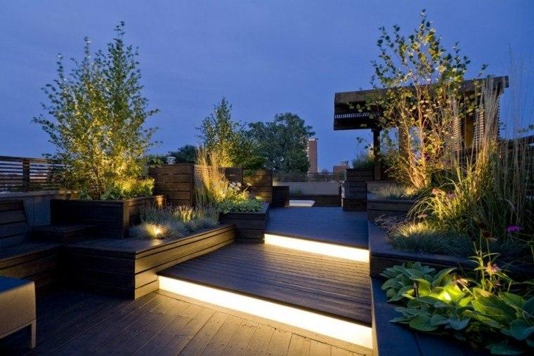luces led escaleras terraza plantas jardin