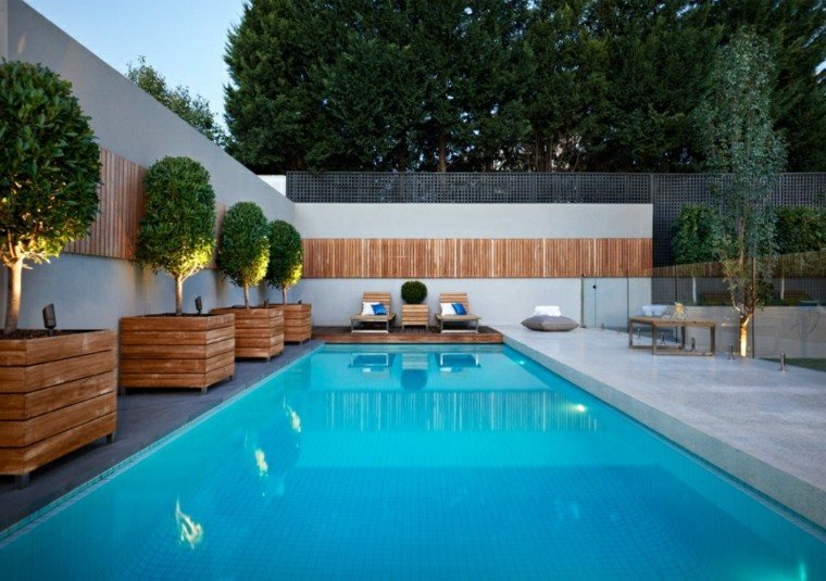 luces led jardineras madera piscina