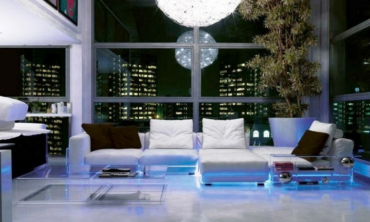 luces led sofa debajo azules