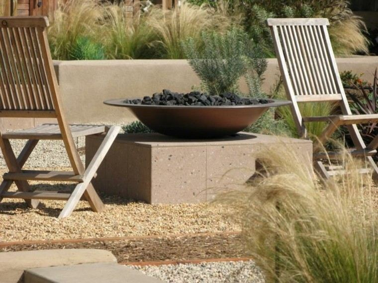 lugar fuego silla teca jardin guijarros amplio ideas
