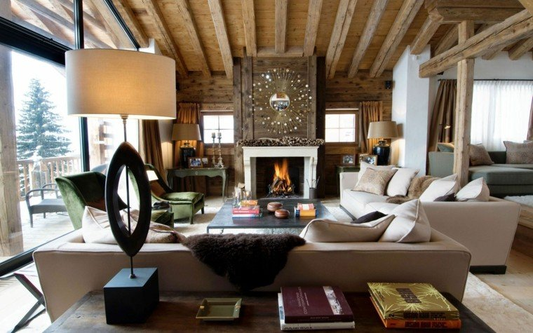 lujoso salon lamparas terraza cabaña diseño