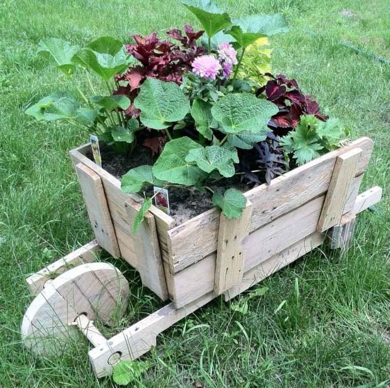 decoración con palets maceta decorativa jardin carito