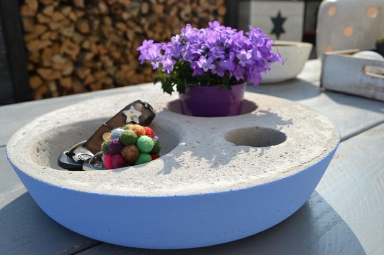 macetero cemento piedra jardin flores