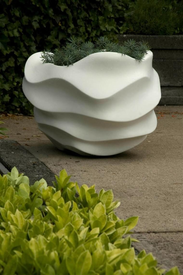 maceteros blanco concha textura plantas