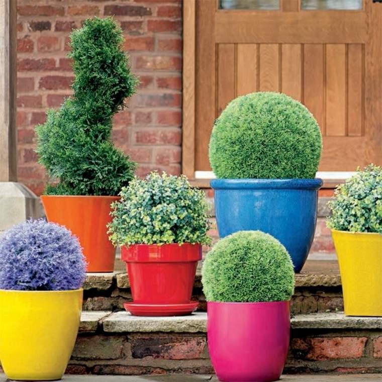 Accesorios jardin adornos muebles y luces de exterior - Macetas de colores ...
