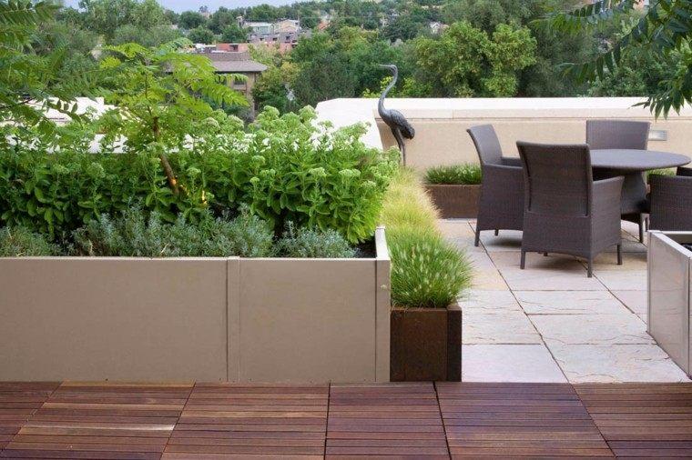 maceteros escultura terraza plantas jardineras