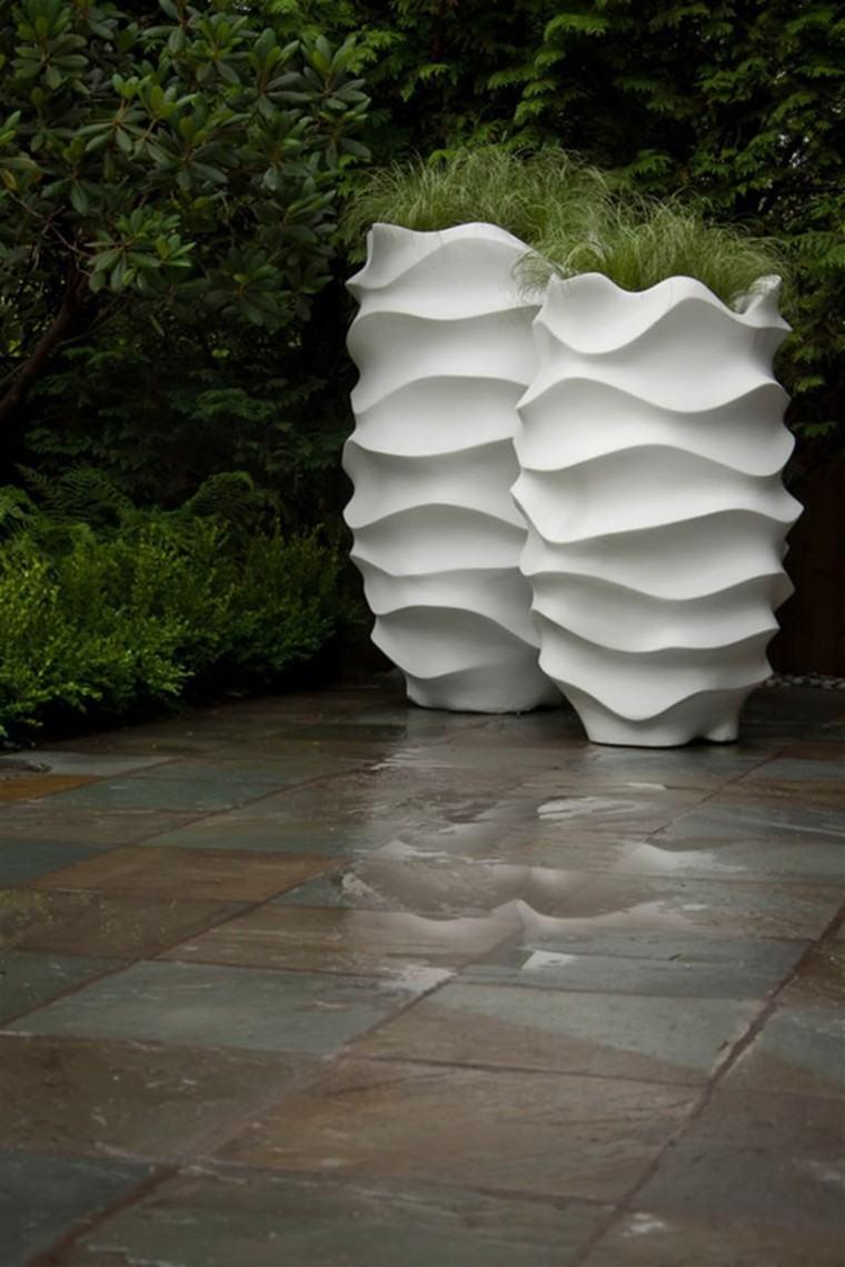 maceteros textura altos diseño blanco