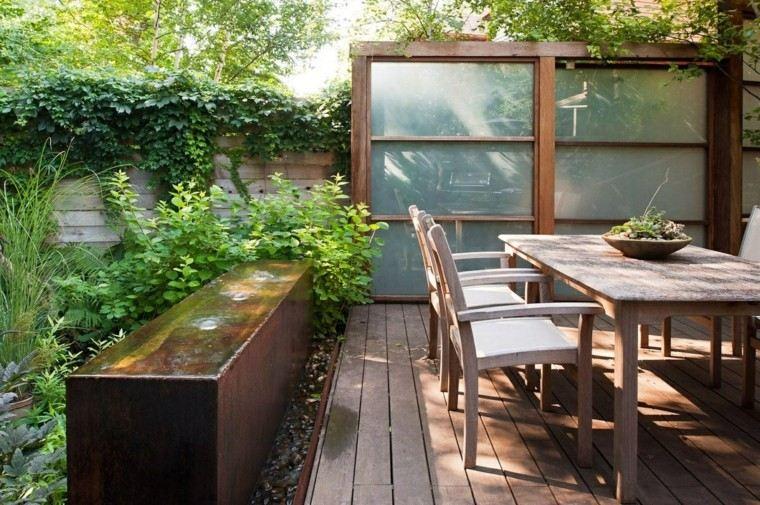 madera plastico valla diseno moderno jardin ideas