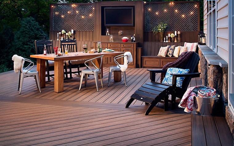 madera terraza aire libre mesa muro