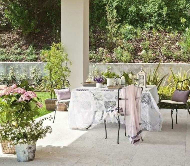 mantel rosa textiles flores macetas fibras