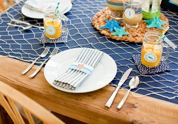 manteles mesa red pescados azul