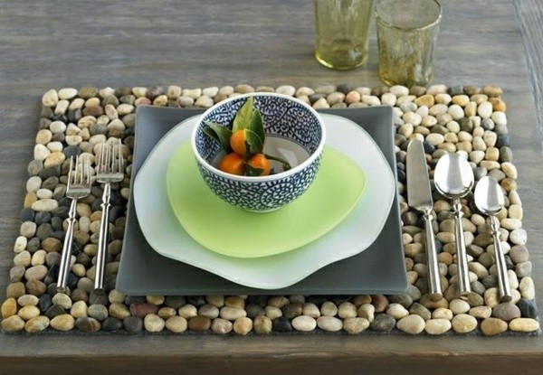 manteles piedras decoracion mesa