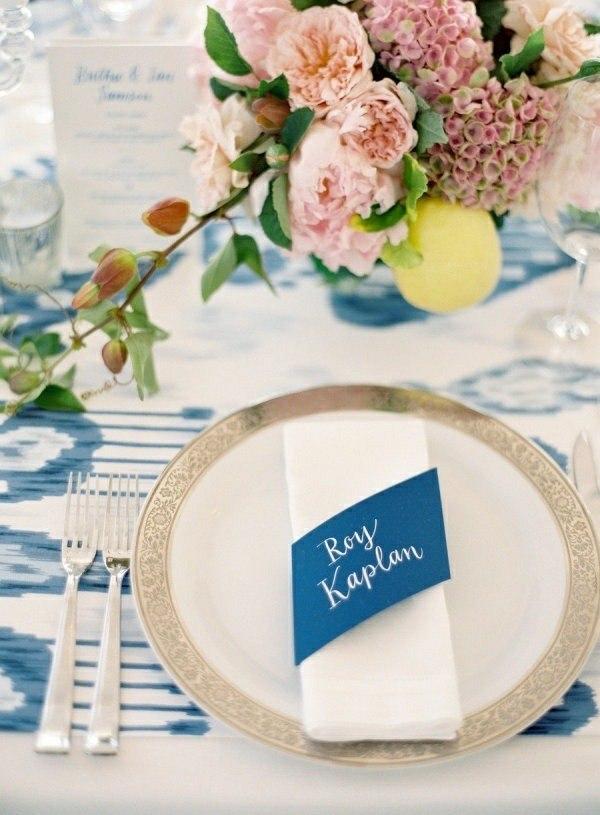 manteles servilletas azul blanco nombre