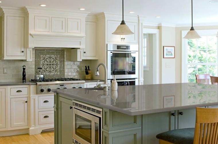 marmol encimera isla cocina gris moderna