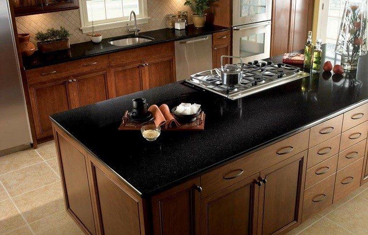 marmol negro encimera armarios madera ideas moderna