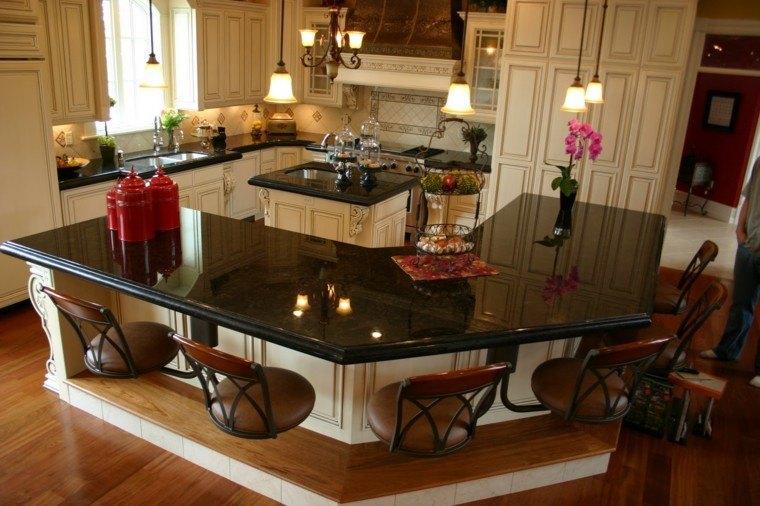 marmol negro encimeras cocina elegante bonita