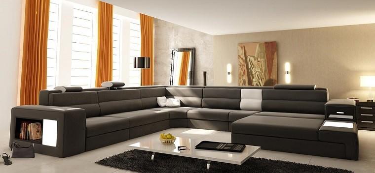 marron funcional sofa cortinas naranja