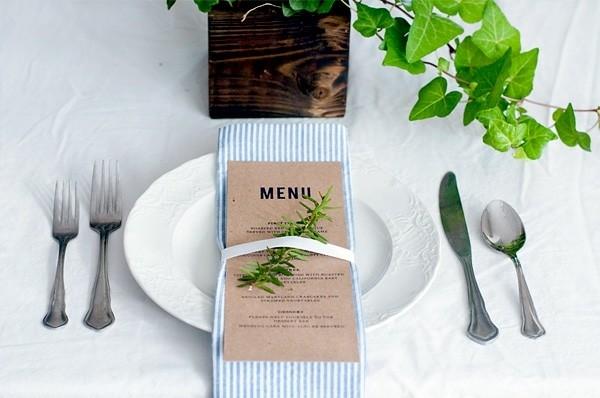 menu carton servilleta tela hoja pino