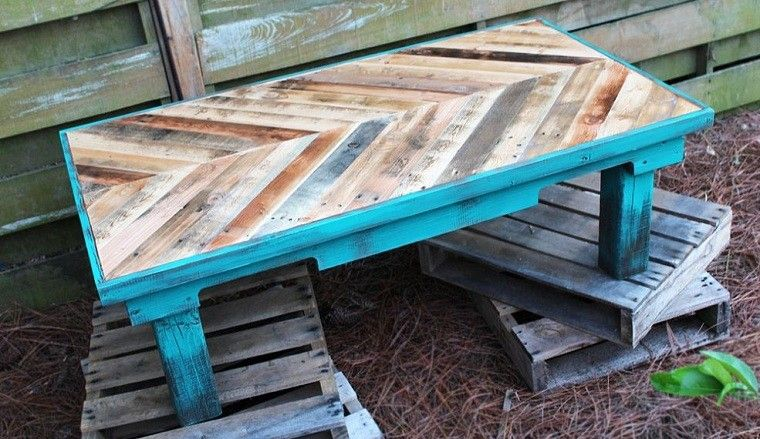 mesa azul baja jardin patio jardin mueble