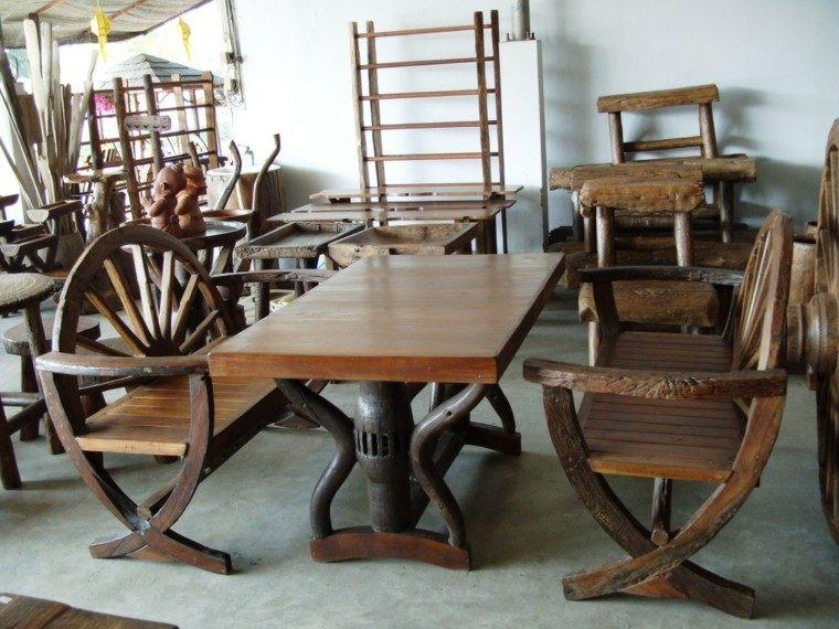Muebles rusticos aires campestres para todo espacio for Ruedas industriales antiguas para muebles