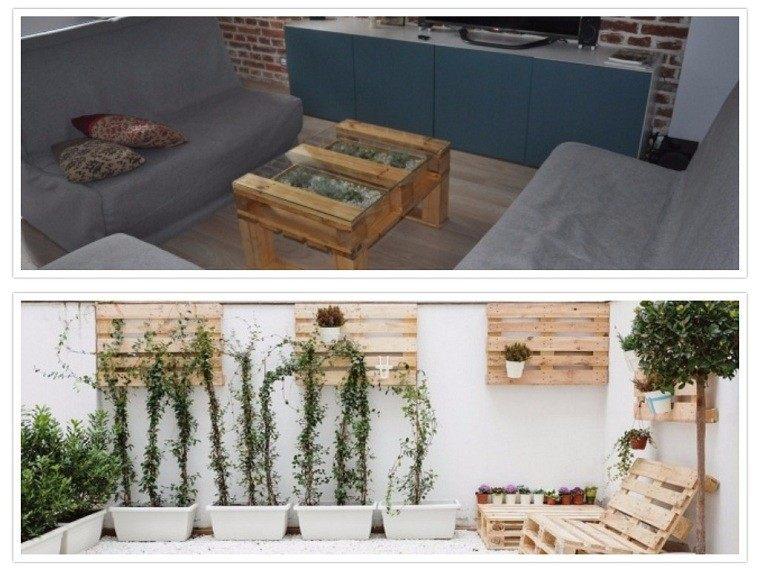 mesa centro macetero tumbona jardin
