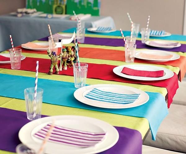 mesa manteles colores tortugas ninja