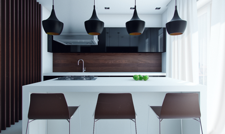 Mesas de cocina modernas pr cticas y funcionales - Isla de cocina con mesa ...