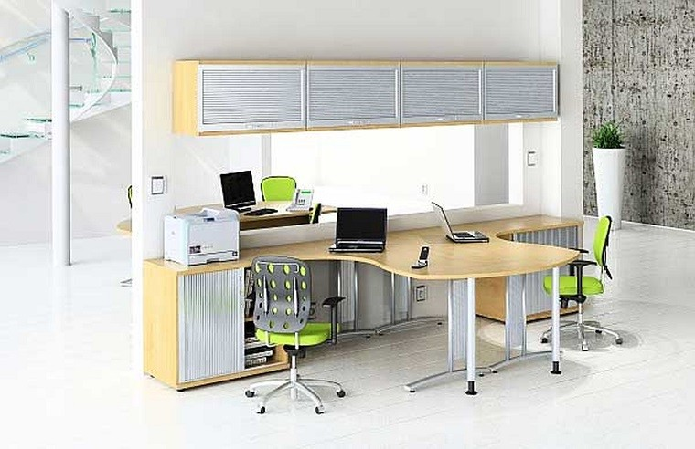 mesa de escritorio sillas verdes